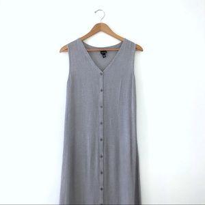 Eileen Fisher Button Down Sleeveless Midi Dress